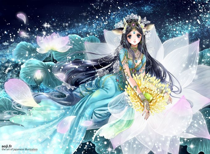 <p> KIM NGƯU: Là chòm sao gắn liền với đất đai, thiên nhiên, cây cối. Kim Ngưu trong tranh vẽ của Shiitake hiện lên như một nữ thần mùa xuân.</p>