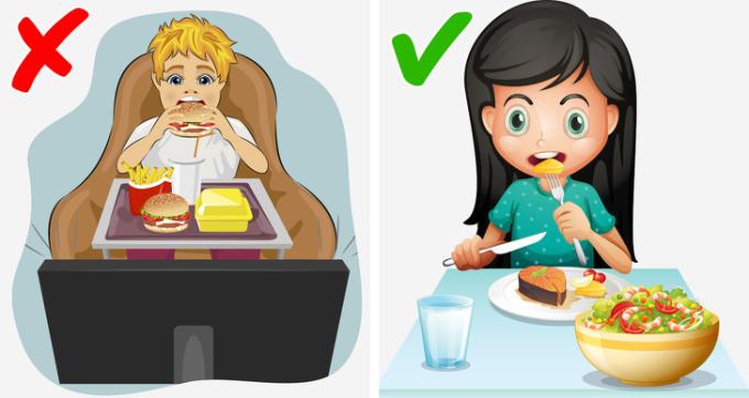 <p> Trong khi ăn bạn không nên vừa ăn vừa xem chuỗi video yêu thích của bạn qua các mạng xã hội. Các nhà nghiên cứu cho biết, bị phân tâm trong giờ ăn khiến bạn ăn nhiều hơn.</p>