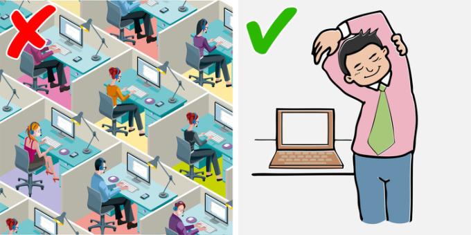 <p> Các nghiên cứu xác nhận rằng có sự tương quan giữa thời gian ngồi và béo phì. Vì vậy, hãy cố gắng di chuyển sau mỗi 60-90 phút hoặc đặt hẹn giờ để tự nhắc nhở mình khi đứng lên. Hãy thử các bài tập trên ghế hoặc đi dạo, dù chỉ là ghé qua đồng nghiệp làm việc trên một tầng khác.</p>
