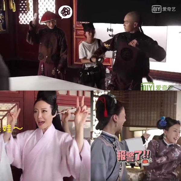 Dàn diễn viên Diên Hy công lượcnhắng nhítở hậu trường.