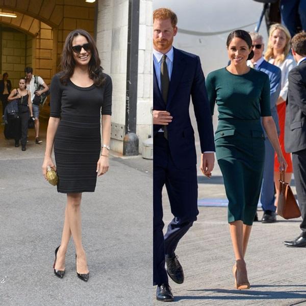 Những set đồ đen từ đầu đến chân của Meghan trước đâylà cách phối đồ mà phụ nữ hoàng gia không bao giờ sử dụng (ảnh trái). Thay vào đó, nếu diện những trang phục tối màu, các công nương thường mix thêm những phụ kiện có gam màu nhã nhặn, sáng sủa (ảnh phải).