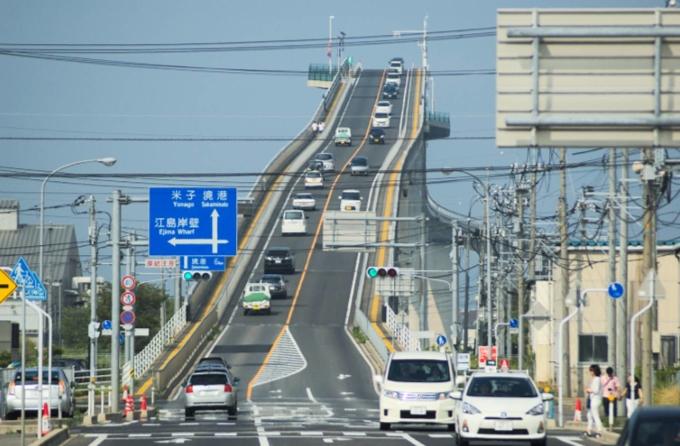 """<p> <strong>10. Cầu Eshima Ohashi, Nhật Bản</strong><br /> Nếu chỉ nhìn ảnh chụp cây cầu Eshima Ohashi, nhiều người sẽ lầm tưởng đây là một đường đua ôtô. Nhưng bạn """"không thể đánh giá cuốn sách chỉ qua cái bìa"""", cây cầu tưởng chừng cực kỳ dốc này chỉ có độ dốc 6,1%. Cầu Eshima Ohashi nối Matsue và Sakaiminato là cây cầu khung cứng lớn nhất tại Nhật Bản.</p>"""