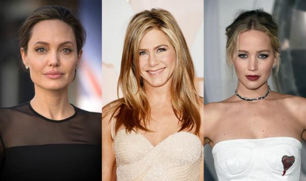 Angelina Jolie, Jennifer Aniston và Jennifer Lawrence.