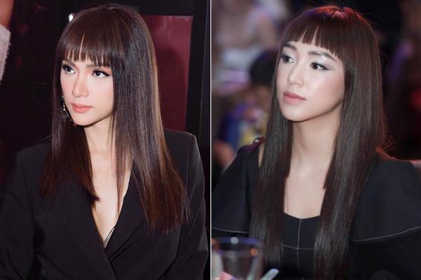 Để chung một kiểu tóc, Hương Giang và Sa Lim khiến nhiều người bất ngờ vì trông giống nhau chẳng khác gì chị em một nhà. Cả hai đều sở hữu gương mặt thon gọn, cằm chuẩn V-line cùng những đường nét rất sắc sảo.