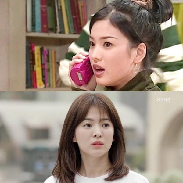 So với năm đầu tiên chạm ngõ điện ảnh (một vai phụ không có tên trong bộ phim  First love1996), Song Hye Kyo đã có bước tiến đáng kể về mặt diễn xuất và cả nhan sắc. Lần gần nhất người đẹp đóng phim là khi đảm nhận vai bác sĩ Kang Mo Yeon trong bộ phim đình đàm Descendants of the sun(2016).
