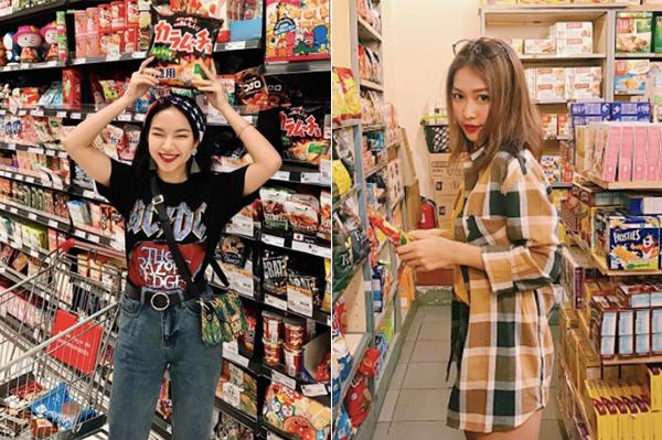 Nhiều tín đồ thời trang Việt khác cũng đang đua nhau theo mốt chụp ảnh trong siêu thị.