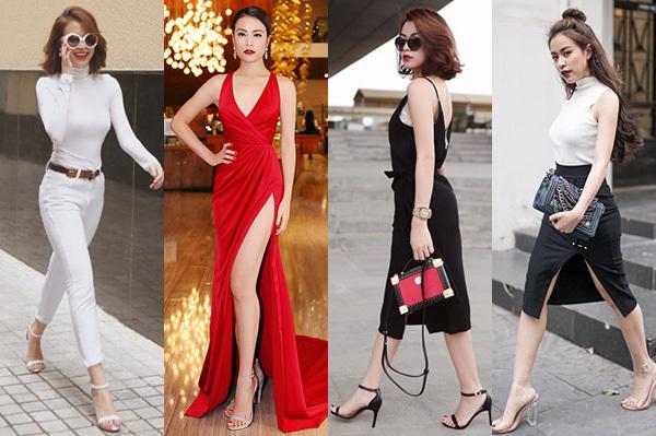Hoàng Thùy Linh là một tín đồ của kiểu giày điệu đà này. Cô sắm rất nhiều đôi gần như cùng kiểu dáng, chỉ khác về màu sắc, chất liệu.
