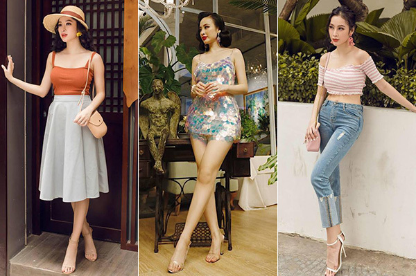 Angela Phương Trinh ưa chuộng sandals màu trắng, nude hoặc xuyên thấu với tác dụng kéo chân rất rõ rệt.