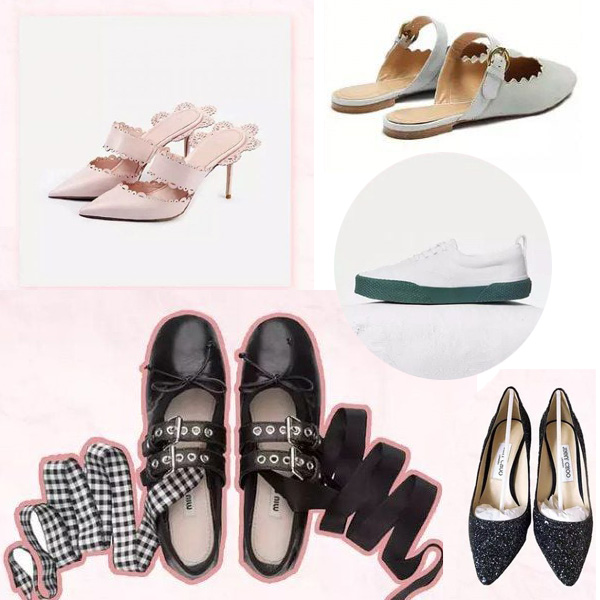 Hàng loạt đôi giày đủ phong cáchcũng được fan Trung không tiếc tiền để sắm tặng thần tượng. Trong đó có cao gót sang chảnh của Jimmy Choo, giày búp bê buộc dây đáng yêu của Miu Miu, sneakers khỏe khoắn của Celine...