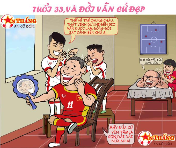 """<p> Được HLV Park Hang-seo tin tưởng gọi vào đội hình, Nguyễn Anh Đức đã chứng tỏ được tài năng cũng như rất """"được lòng"""" các tuyển thủ trẻ.</p>"""