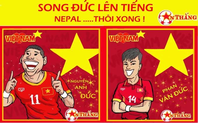 """<p> Bộ đôi """"chú cháu"""" lão tướng Anh Đức - tuyển thủ trẻ Văn Đức trên hàng công là hình ảnh ấn tượng nhất trong trận Việt Nam - Nepal.</p>"""