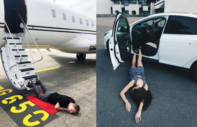 """<p> Mới đây, hội con nhà giàu Nga thi nhau tham gia trò chơi mới mang tên Falling Stars 2018. Kiểu tạo dáng """"ngã sấp mặt"""" đòi hỏi người tham gia nằm sấp trên nền đất rồi chụp ảnh và không ngần ngại khi pose hình ở chỗ đông người.</p>"""