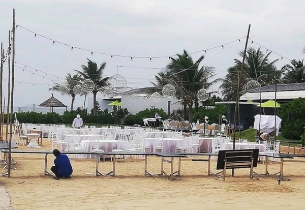 Không gian nơi sẽ diễn ra tiệc đính hôn của Trường Giang - Nhã Phương chiều nay.