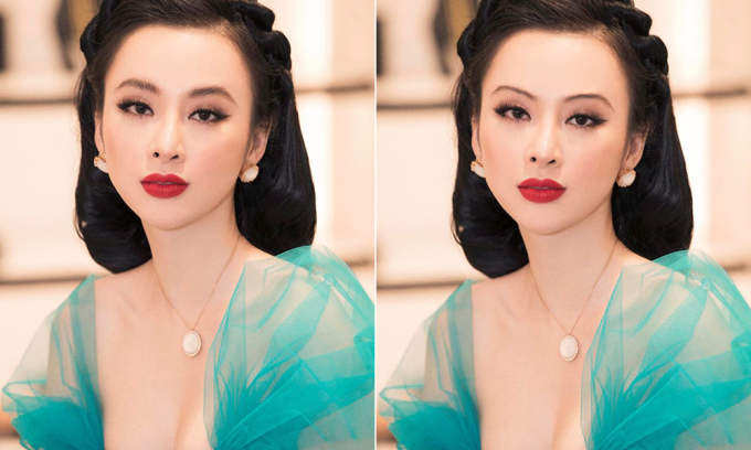 """<p> Khi được thử nghiệm để lông mày """"sợi chỉ"""" bằng photoshop, Angela Phương Trinh biến hóa dung nhan khác hẳn. Vốn có vẻ đẹp đậm chất cổ điển nên cô nàng rất hợp với hàng mày quý phái này.</p>"""