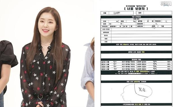 Irene bỏ trống nhiều mục khi điền thông tin cá nhân trên show Weekly Idol.