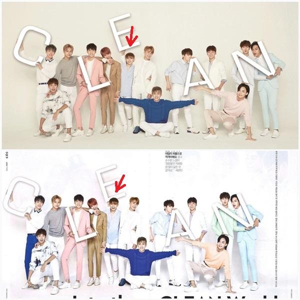 So sánh ảnh hậu trường và ảnh quảng cáo, Woozi (Seventeen) từ bé hạt tiêu bỗng có chiều cao bằng bạn bằng bè.