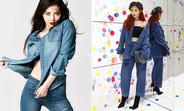 Từ lên sân khấu, đi sự kiện hay chụp ảnh thời trang, Hyun Ah đều mê mệt diện đồ cả cây jeans cùng tông màu, kết hợp cùng phụ kiện tăng độ sành điệu.