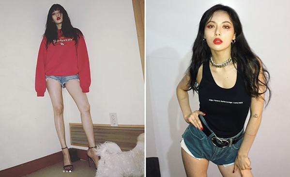 Quần jeans càng ngắn càng tăng độ sexy của Hyun Ah, giúp cô nàng khoe đôi chân thon dài. Nhiều lần nữ idol còn diện quần ngắn đến mức lộ cả vải lót túi quầnphía trong.