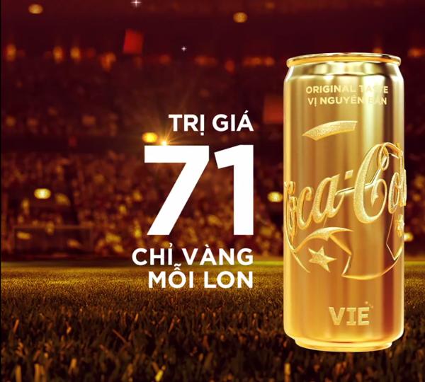 Lon vàng trị giá 71 triệu đồng được Coca Cola trao cho tuyển U23 Việt Nam.