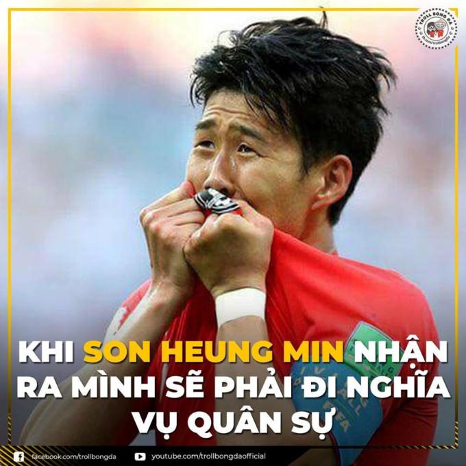 """<p> """"Ronaldo của Hàn Quốc"""" trở thành niềm tự hào của giới trẻ mê bóng đá châu Á, anh có rất nhiều fan (kể cả fan Việt) khi thi đấu xuất sắc trong màu áo Tottenham. Thế nhưng dù rất yêu anh chàng """"soái ca"""", các thánh chế vẫn """"phải"""" cho anh đi nghĩa vụ.</p>"""