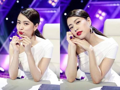 Đầm trắng lệch vai của Lane JT phù hợp với những cô gái mang vẻ đẹp hiện đại như Hoàng Thùy Linh.