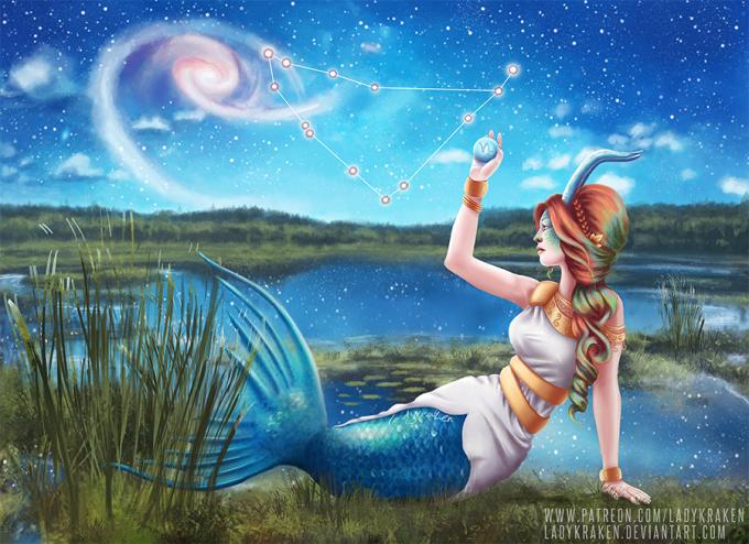 <p> Chòm sao Ma Kết đại diện cho vị thần xứ Babylon, tên là Ea. Ông có nửa dưới cơ thể là cá, đầu và mình dê.</p>