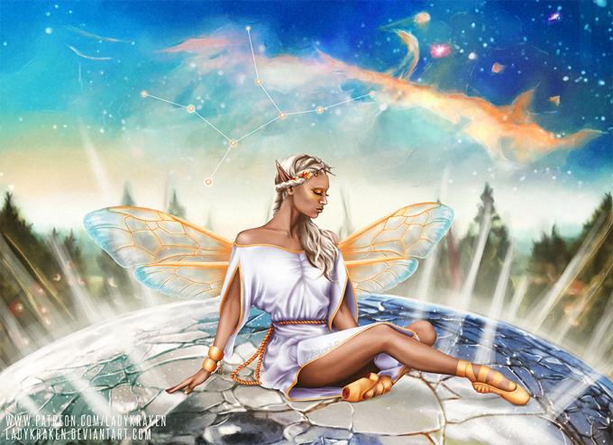 <p> Biểu tượng của chòm sao Xử Nữ là một trinh nữ trong trắng mang vẻ đẹp thuần khiết như trong hình vẽ.</p>