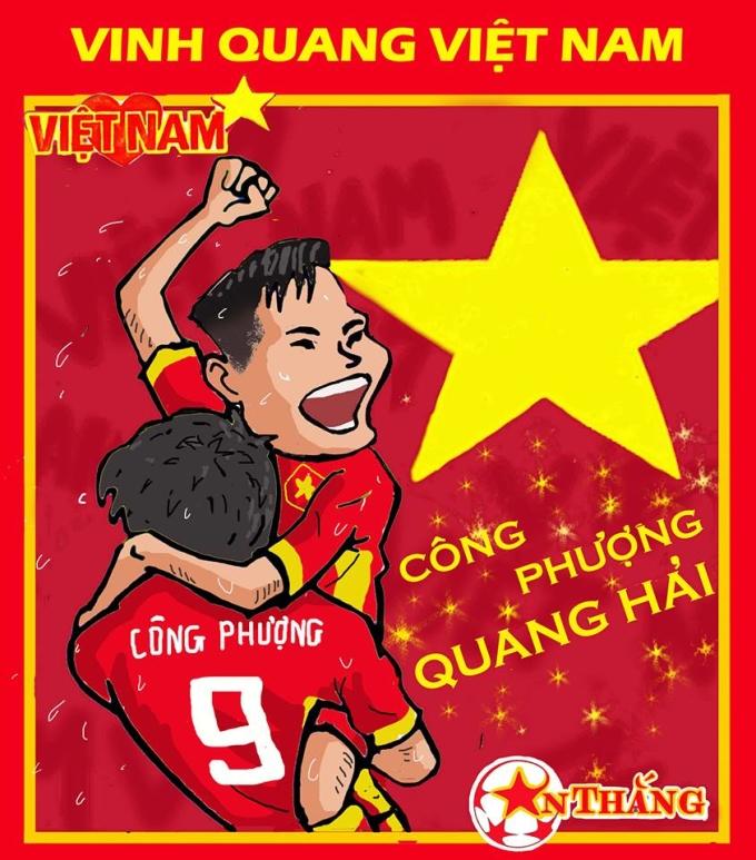 """<p> Quang Hải """"khai hỏa"""" với bàn thắng đầu tiên cho Olympic Việt Nam tại Asiad, sau một pha phối hợp bật nhả ăn ý cùng Công Phượng. Bức hình Công Phương """"bế bổng"""" Quang Hải được coi là một hình ảnh đầy ý nghĩa nói nên được sự đoàn kết, đồng sức đồng lòng giữa các thành viên của đội bóng.</p>"""