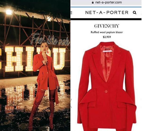 Người đẹp cũng nhượng lại chiếc áo vest Givenchy với giá gốc gần 68 triệu đồng.