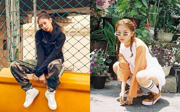 Những hình ảnh so sánh vẻ đẹp cool ngầu của hai cô nàng trong trang phục thể thao năng động, khỏe khoắn.