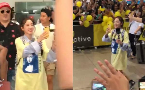 Người đẹp xứ kim chi gây ấn tượng với hình ảnh thân thiện, vừa cầm máy quay vừa liên tục vẫy tay chào các fan hâm mộ.