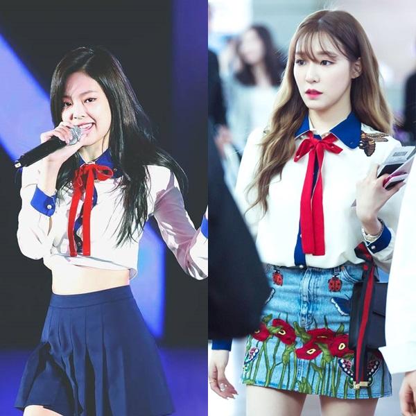 Tiffany và Jennie cùng mặc một mẫu áo của Gucci. Nếu như Tiffany phối đồ giống hãng thì Jennie lại cắt ngắn thành croptop. Nhiều người khẳng định Tiffany mặc đẹp hơn Jennie. Nguyên nhân là vì hành động cắt ngắn thành áo croptop của stylist khiến mẫu áo Gucci mà Jennie diện trở nên... rẻ tiền hơn bản gốc.