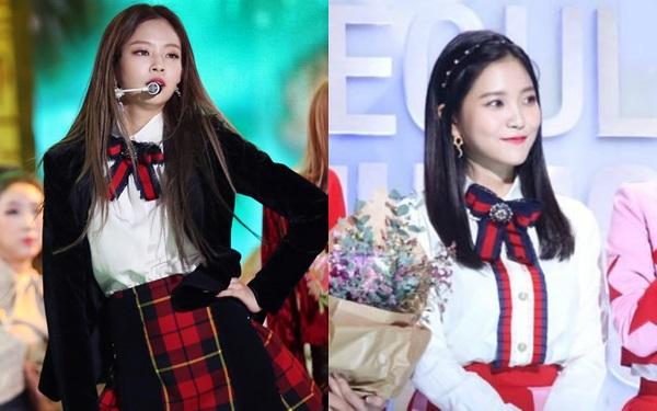 Jennie, nữ idol được mệnh danh là Gucci sống, chinh phục xuất sắc một thiết kếtừ Gucci là Cotton Poplin Shirt. Trong khi đó, em út Yeri của Red Velvet lại kém sang hơn khi phối chiếc áo cùng váy đỏ có phần hơi rực rỡ.