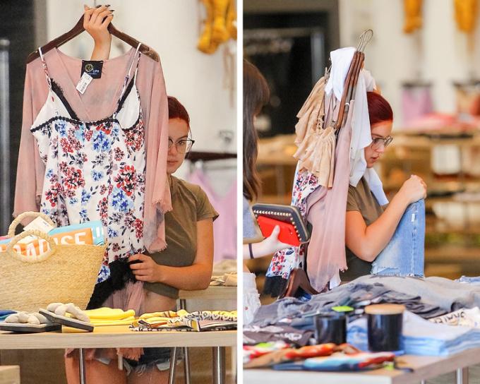 <p> Ariel Winter dùng luôn quần áo để che chắn khi đi shopping ở Los Angeles.</p>
