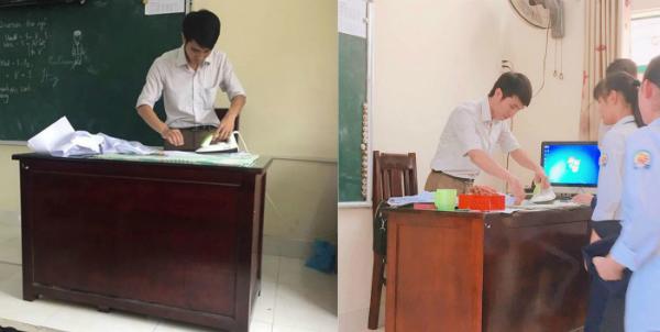Hình ảnh thầy giáo là áo được dân mạng chia sẻ rần rần. Ảnh: Hoàng Hà