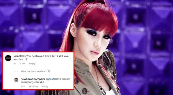 Park Bom đáp trả fan trên Instagram.