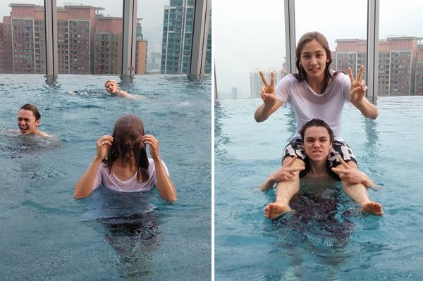 Seung Kwan (Seventeen) đào mộ ảnh chụp các thành viên đùa nghịch trong hồ bơi từ năm 2015. Jeong Han bị mái tóc dài che hết mặt mũi khiến fan liên tưởng đến phim kinh dị.