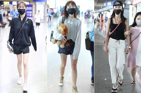Người đẹp thường xuyên lộ đôi chân gầy gò, thân hình mong manh trong những bộ đồ thể thao rộng thùng thình, trông chẳng khác gì chạy vội từ nhà ra sân bay.