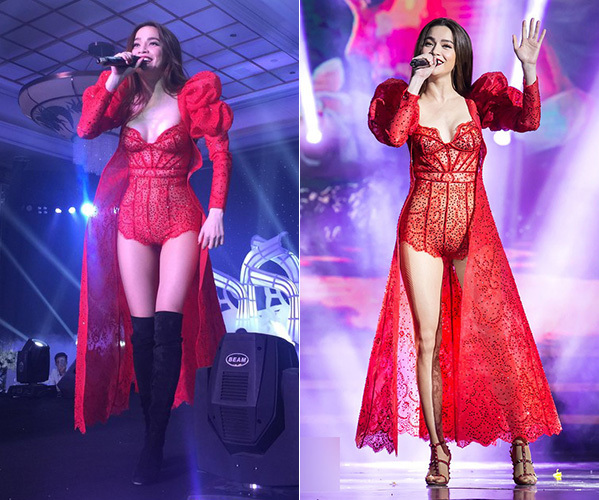 Khi đi boots, bộ đồ đỏ của Hà Hồ trông rất mạnh mẽ, phóng khoáng, trong khi đó nếu chuyển qua kết hợp cùng sandals, trang phục đó trông mềm mại, nhẹ nhàng hơn hẳn.