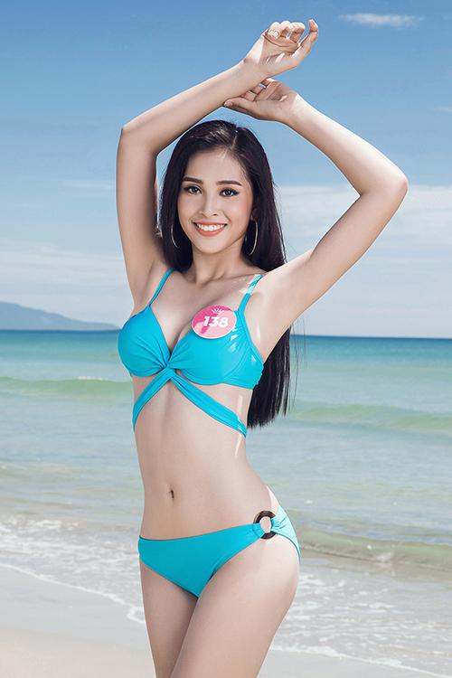 Vẻ đẹp Tây hiện đại cùng vóc dáng khỏe khoắn là lợi thế lớn của Tiểu Vy ở cuộc thi này.