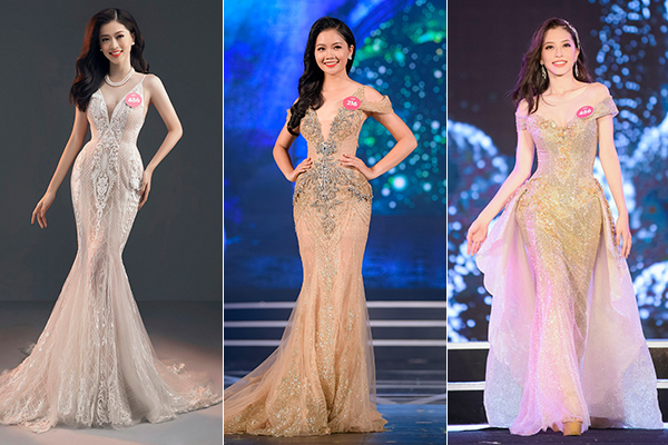 Ngay từ các vòng trước đó của Hoa hậu Việt Nam, nhiều thí sinh đã ưa chuộng kiểu váy dạ hội đặc biệt này.