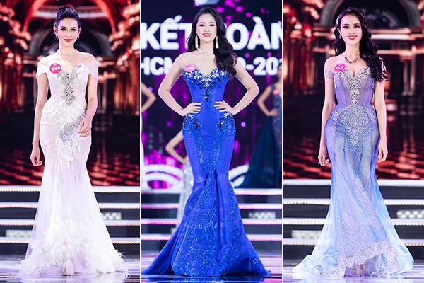 Rất nhiều người đẹp khác trong Top 10 Hoa hậu Việt Nam 2018 cũng chọn các thiết kế bó chặt eo, phồng hông để che sạch mọi khuyết điểm, vóc dáng trở nên đẹp như đồng hồ cát.