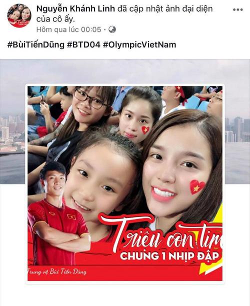 Khánh Linh cập nhật ảnh đại diện trên trang cá nhân để cổ vũ cho bạn trai.