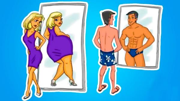 Đây chính xác là những gì một cô gái và một chàng trai hình dung về mình khi soi gương.
