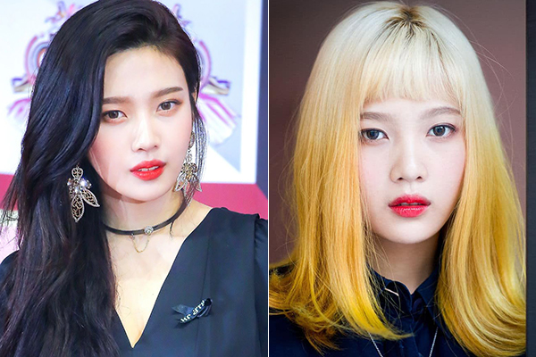 Joy là idol Hàn hiếm hoi để tóc đen hay tóc vàng hoe đều thu hút. Khi để tóc đen, cô nàng trông trưởng thành, quyến rũ, còn khi nhuộm vàng ombre, thành viên Red Velvet lại rất ngây thơ.