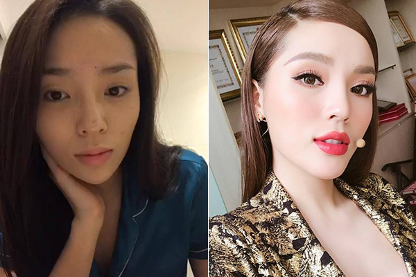 Thường xuyên gắn bó với kiểu trang điểm đậm dày nên khi trút bỏ mặt nạ phấn son, Kỳ Duyên trông lạ lẫm vì hơi nhợt nhạt. Makeup có công rất lớn giúp những đường nét của Hoa hậu Việt Nam 2014 thêm thu hút.