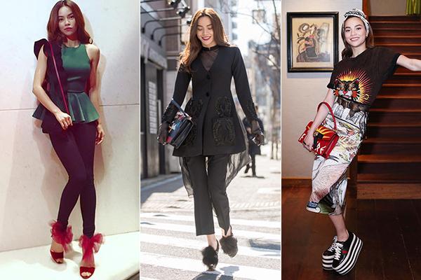 Người đẹp cũng không ngại chi hàng chục triệu đồng để tậu những đôi giày có thiết kế độc đáo, khác biệt, đôi khi chỉ diện đúng một lần rồi cất tủ. Những món đồ này không chỉ cho thấy độ chịu chơi của Hà Hồ trong việc mua sắm mà còn khẳng định gu thẩm mỹ riêng biệt của cô.