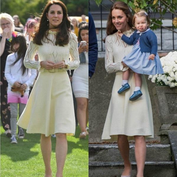 Chiếc váy màu vàng nhạt của thương hiệu See by Chloe được Công nương Kate mặc 2 lần. Lần đầutại Canada năm 2016, lần thứ 2 tại một buổi tưởng niệm diễn ra ở cung điện Buckingham năm 2017.