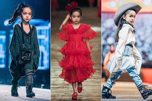 Chu Diệp Anh cũng là gương mặt mẫu nhí đình đám Hà thành. Từ năm 3 tuổi, cô nhóc đã sải chân trên sàn catwalk, làm người mẫu cho các thương hiệu thời trang với thần thái chuyên nghiệp.