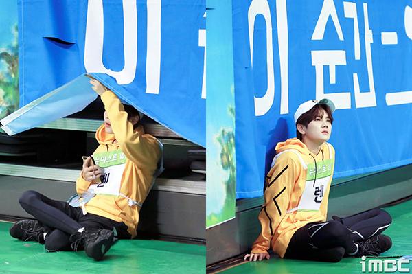 Quá trình thu hình mệt mỏi, kéo dài khiến nhiều idol tự tìm một góc ngồi nghỉ, tìm sự yên tĩnh.